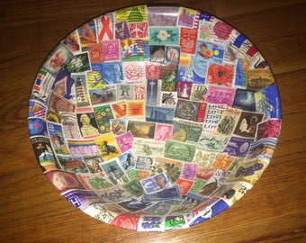 Postage Stamp Decorative Bowl- 10 inch wooden bowl decopaged with U.S and international colorful stamps