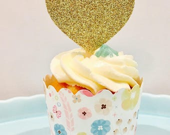 12ct Heart glitter cupcake topper, Valentines cupcake topper, birthday cupcake topper