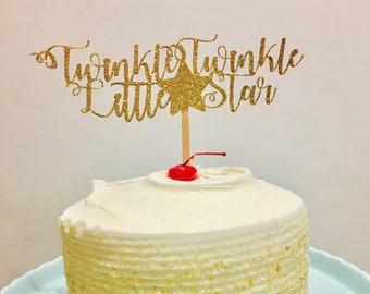 Twinkle little star glitter cake topper, Twinkle Twinkle cake topper, Little star cake topper, Twinkle Twinkle little Star cake topper