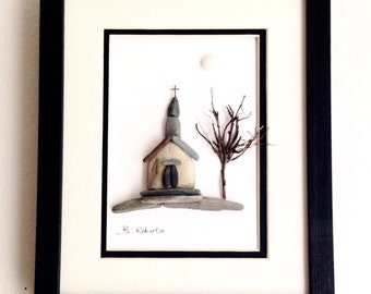 Country Church Pebble Art in Shadowbox