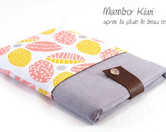 """Case Samsung Galaxy note - padded cover iPad mini - pouch Nexus 7 - cover 8 """"custom fabric pink and yellow leaves"""