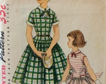 Simplicity 1254 girls dress size 6 vintage 1950's sewing pattern