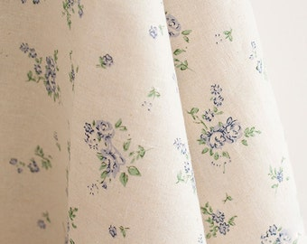 Cotton linen fabric  Floral fabric Little blue flowers on natural linen, Alittle heavy weight by half yard - 1/2 yard