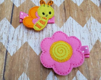 Spring hair clips, flower and butterfly hair clips, toddler hair clips, girls hair clips, clippies, felt hair clips, Butterfly hair clip