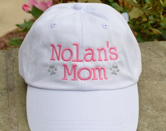 Dog Mom Baseball Cap with Paw Prints || Embroidered Dog Lover Hat || Custom Personalized Gift by Three Spoiled Dogs Made in USA