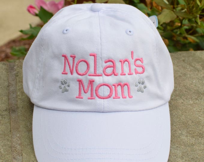 Featured listing image: Dog Mom Baseball Cap with Paw Prints || Embroidered Dog Lover Hat || Custom Personalized Gift by Three Spoiled Dogs Made in USA