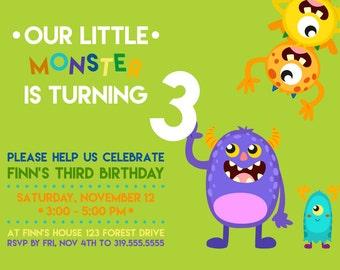 MONSTER birthday party invite