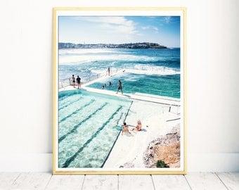 Large Beach Poster, Aerial Beach Print, Bondi Beach, Extra Large Wall Art, Bedroom Wall Art, Office Artwork, Sydney, Australia, Beach Photo