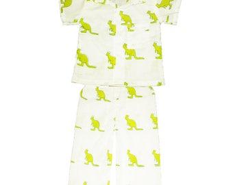 Cotton Lounge wear, UNISEX, Long Sleeve Organic Adult pajamas, Handmade pajamas, Kangaroo print, Matching pjs, Family pajama sets, Jammies