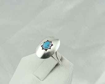 "Hand Signed ""RY"" Navajo Native American Shadow Box Turquoise Ring Size 7 #SHADOW-SR3"