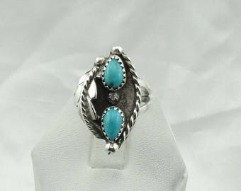Vintage Turquoise Sterling Silver Native American Ring Size 7 1/2  #DBLTQ-SR5