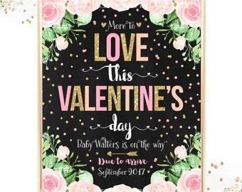 Valentine Pregnancy Announcement Valentine's Day Pregnancy Announcement Valentine's Day Baby Reveal Sign Valentine Baby Reveal Printable