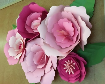 Giant paper flowers . Wall flowers . Nursery wall flowers. Birthday Party Wedding Anniversary Quinceanera. Set of 6.