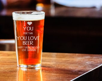 valentines day beer glass valentines gift for him boyfriend valentines gift valentines day