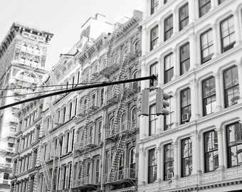 New York Photography Print, Black White Photo, Soho NYC Wall Art Print, Buildings Picture, Architecture Art, New York City, Wall Decor