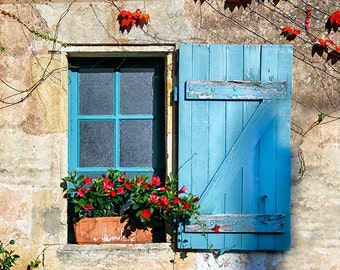 Window Photography, France Print, Blue Shutters Art, Summer Flowers on Windowsill, Rustic Window Shutters in France, Turquoise Blue Decor