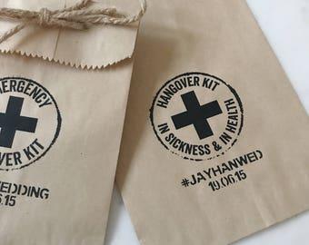 Wedding Favor Bags! - Hangover Kit - Favor Bags - Custom Printed on Kraft Brown Paper Bags