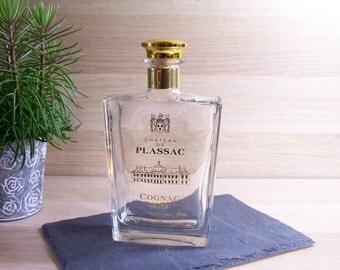 Cognac's carafe old flask Cogna XO Château de Plassac comtes de Dampierre pitcher glass carafe  vintage