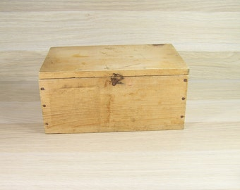 Rustic wooden box nailed rustic box| France vintage 1950
