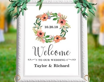 Printable Floral Wedding Welcome Sign, Personalized Custom Wedding Signs, Editable Text, INSTANT DOWNLOAD, WS004, VW12