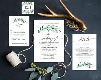 Greenery Wedding Invitation, Printable Eucalyptus Greenery Wedding  Invitation Template, Editable Text, Eucalyptus Greenery
