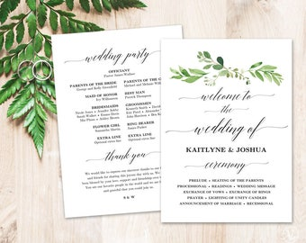 Greenery Wedding Program Template, Printable Wedding Programs, DIY Wedding Programs, Garden Greenery
