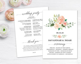 Peach Blush Floral Wedding Program Template, Printable Wedding Programs, DIY Wedding Programs, Peach Blush