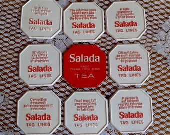 9 Vintage Salada Tea Advertising Coasters Tag Lines With Quotes Words Of  Wisdom Red U0026 White