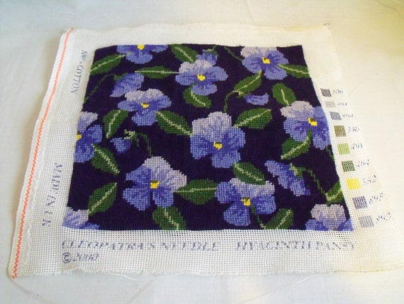 """floral tapestry panel, flower picture, purple pansies unframed, ready to make into a cushion, kneeler or anything else 10"""" x 10"""""""