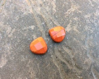 Red Breciated Jasper gemstone briolettes package of 2 faceted 15mm briolette beads top drilled