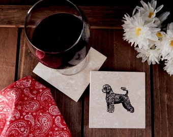 Set of 4 Portuguese Water Dog Travertine Stone Coasters