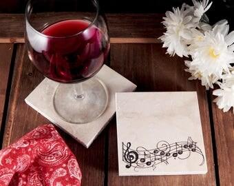 Set of 4 Music Notes Travertine Stone Coasters