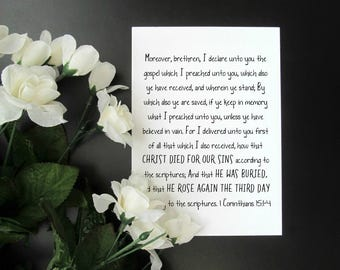 "The Gospel Print - 1 Corinthians 15:1-4 Jesus Death, Burial, and Resurrection Easter Bible Verse Christian Faith Wall Art - 5x7"" or 8x10"""