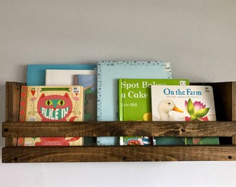 Rustic book shelf, Book storage, Rustic shelf, Kids book organizer, Kids room storage