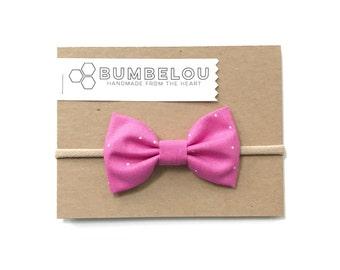 Classic Fabric Bow - Magenta Sprinkles - Headband or Clip