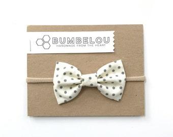 Classic Fabric Bow - Black Tie Day - Headband or Clip