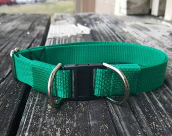 Kelly Green, Breakaway Dog Collar, Safety Collar, Polypropylene Webbing
