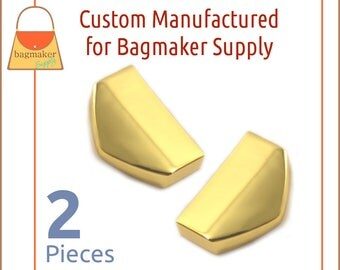 "1 Inch Strap / Zipper Ends, Shiny Gold Finish, 2 Piece Pack, Purse Handbag Hardware Supplies, One Inch, 1"" Tips, STR-AA010"