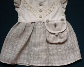 Cute baby girl dress from linen with lace
