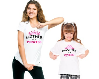Mother of Princess, Daughter of Queen, Gift for mom, Gifts for girls, Mom life shirt, T shirt design, Personalised gifts, Customized shirts