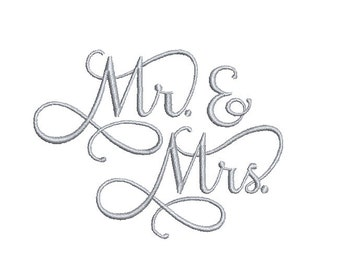 Mr & Mrs Embroidery Design in 3 Sizes - INSTANT DOWNLOAD