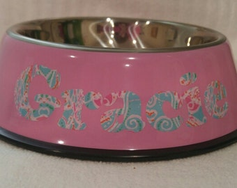 Lilly Pulitzer Inspired Personalized Dog Bowl