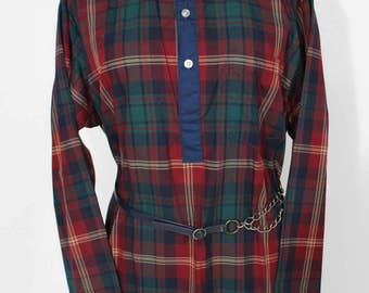 1990s Bill Blass Tartan Plaid Night Gown/ night shirt / tunic with leather and chain belt // size medium // made in usa