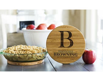 Personalized Solid Bamboo Trivets - 2 Trivets - Browning Style