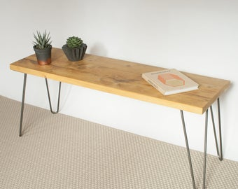 Marley Wooden Bench | Hairpin Bench | Industrial Bench | Mid Century Modern | Reclaimed Wood Bench | Eco Friendly Bench