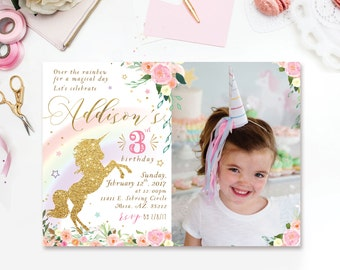 Rainbow Unicorn Birthday Invitation with photo - Pastel Rainbow Unicorn Invitations - Unicorn Birthday - Unicorn Party digital printable DIY