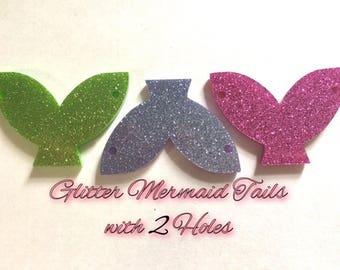 Mermaid Tails, 2 hole acrylic blanks, bangle making beads, acrylic cut outs, mermaid bracelet, mermaid jewelry, glitter mermaid beads,