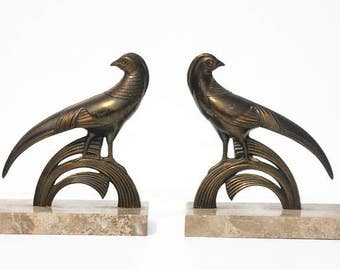 Art Deco French,Marble Book ends  Bird ,animals,home decor