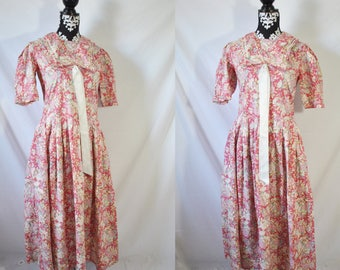 Vintage 80s Drop Waist Laura Ashley Dress Floral 20s Inspired Dress Garden Party Prairie Dress Pink Romantic Tea Dress Quirky 80s Prom Dress