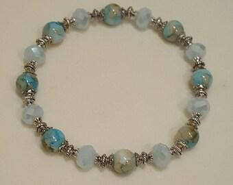 Aqua Crystal and Glass Bead Stretch Bracelet